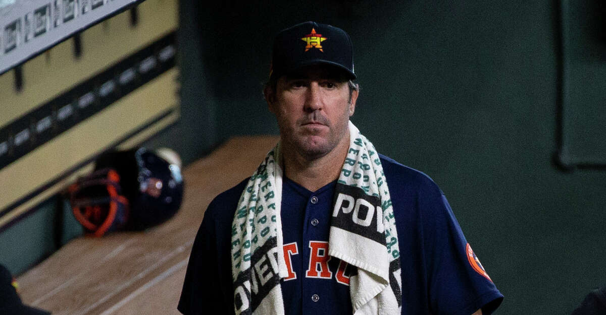 Houston Astros pitcher Justin Verlander in the dugout during an intrasquad game after Verlander pitched five innings Sunday, July 19, 2020, at Minute Maid Park in Houston.
