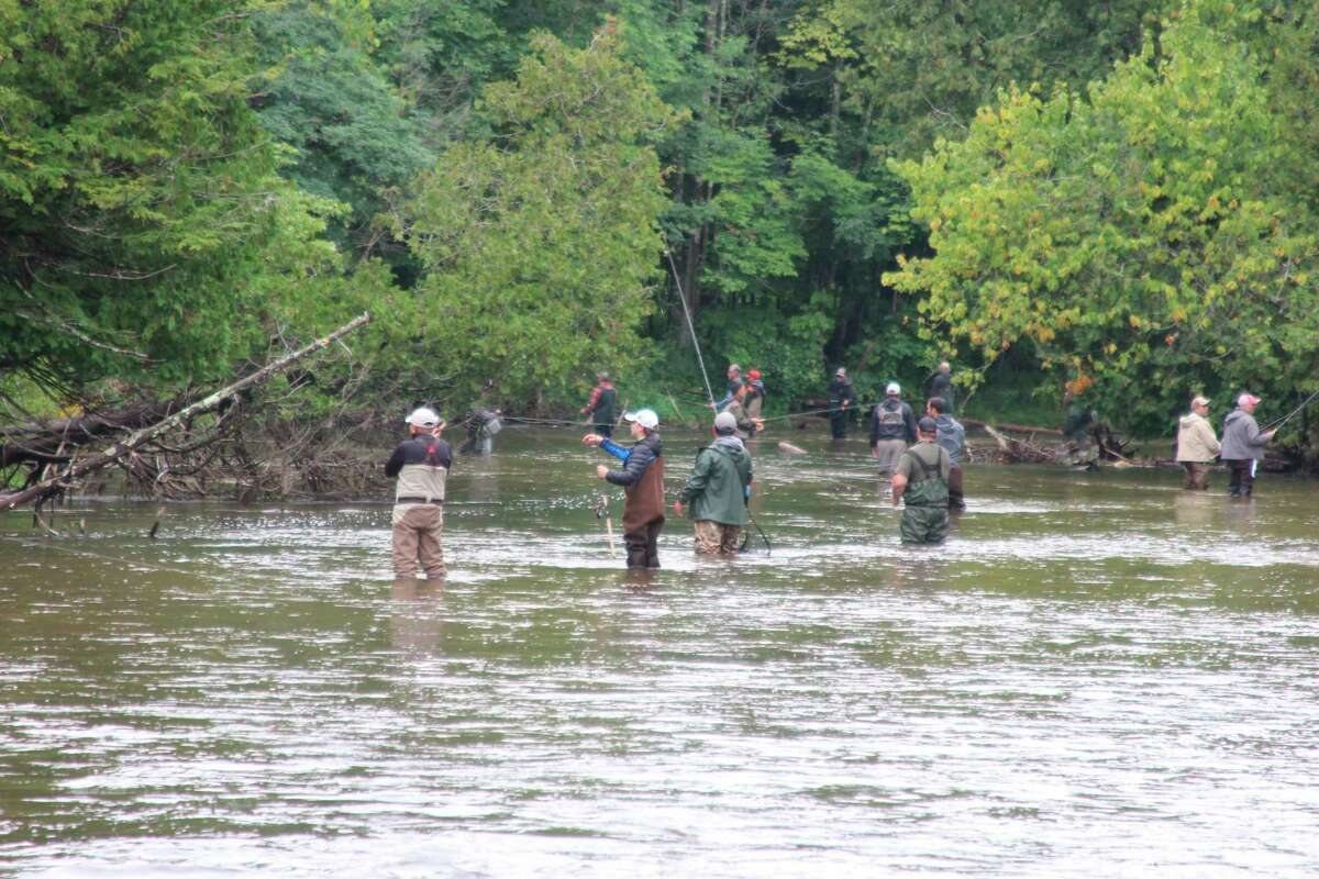 Anglers line the Betsie River near the Homestead Dam trying to catch salmon migrating upstream to spawn. (Photo/Colin Merry)