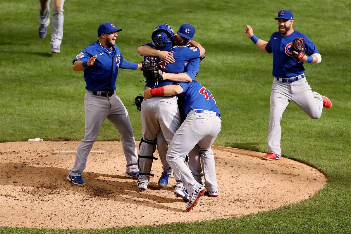Alec Mills (30) of the Chicago Cubs celebrates with teammates after throwing a no-hitter to beat the Milwaukee Brewers 12-0 on Sunday, September 13, 2020 at Miller Park in Milwaukee, Wisconsin. (Dylan Buell/Getty Images/TNS)