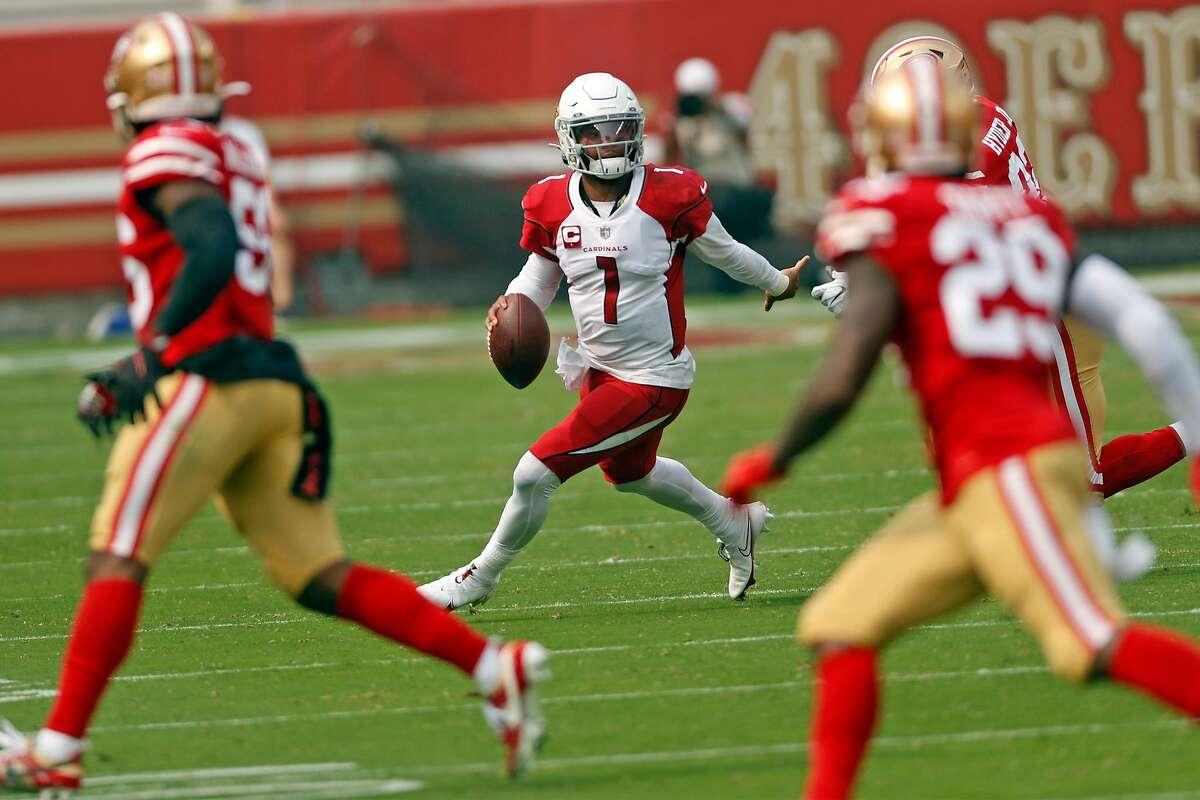 Arizona Cardinals' Kyler Murray scrambles in 2nd quarter of 24-20 win over San Francisco 49ers during NFL game at Levi's Stadium in Santa Clara, Calif., on Sunday, September 13, 2020.