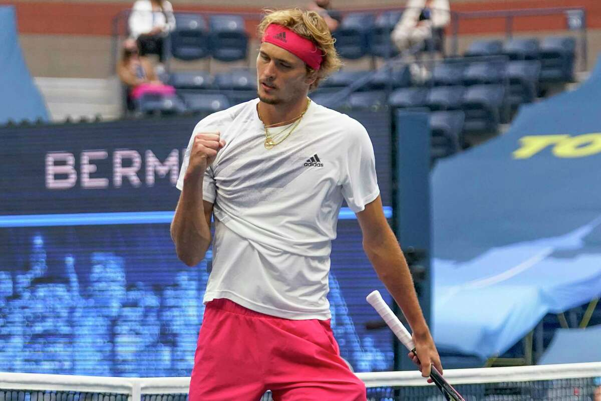 Alexander Zverev, of Germany, reacts during the men's singles final against Dominic Thiem, of Austria, during the US Open tennis championships, Sunday, Sept. 13, 2020, in New York. (AP Photo/Frank Franklin II)