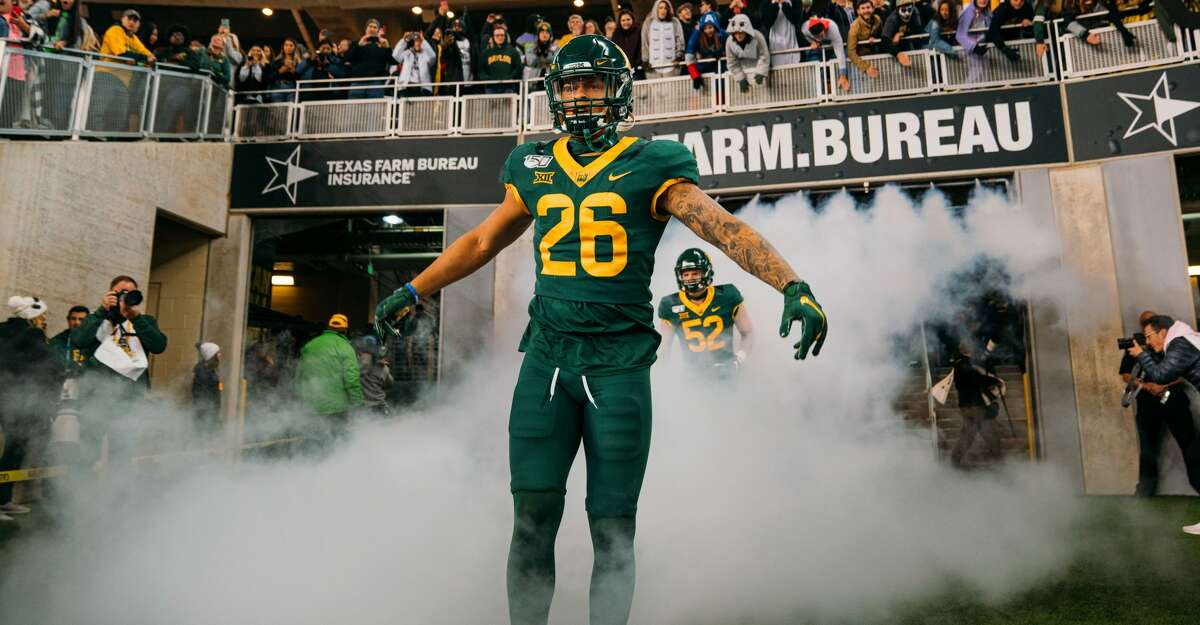 Linebacker Terrel Bernard #26 of the Baylor Bears enters McLane Stadium before action against the West Virginia Mountaineers on October 31, 2019 in Waco, Texas. (Photo by Adrian Garcia/Getty Images)