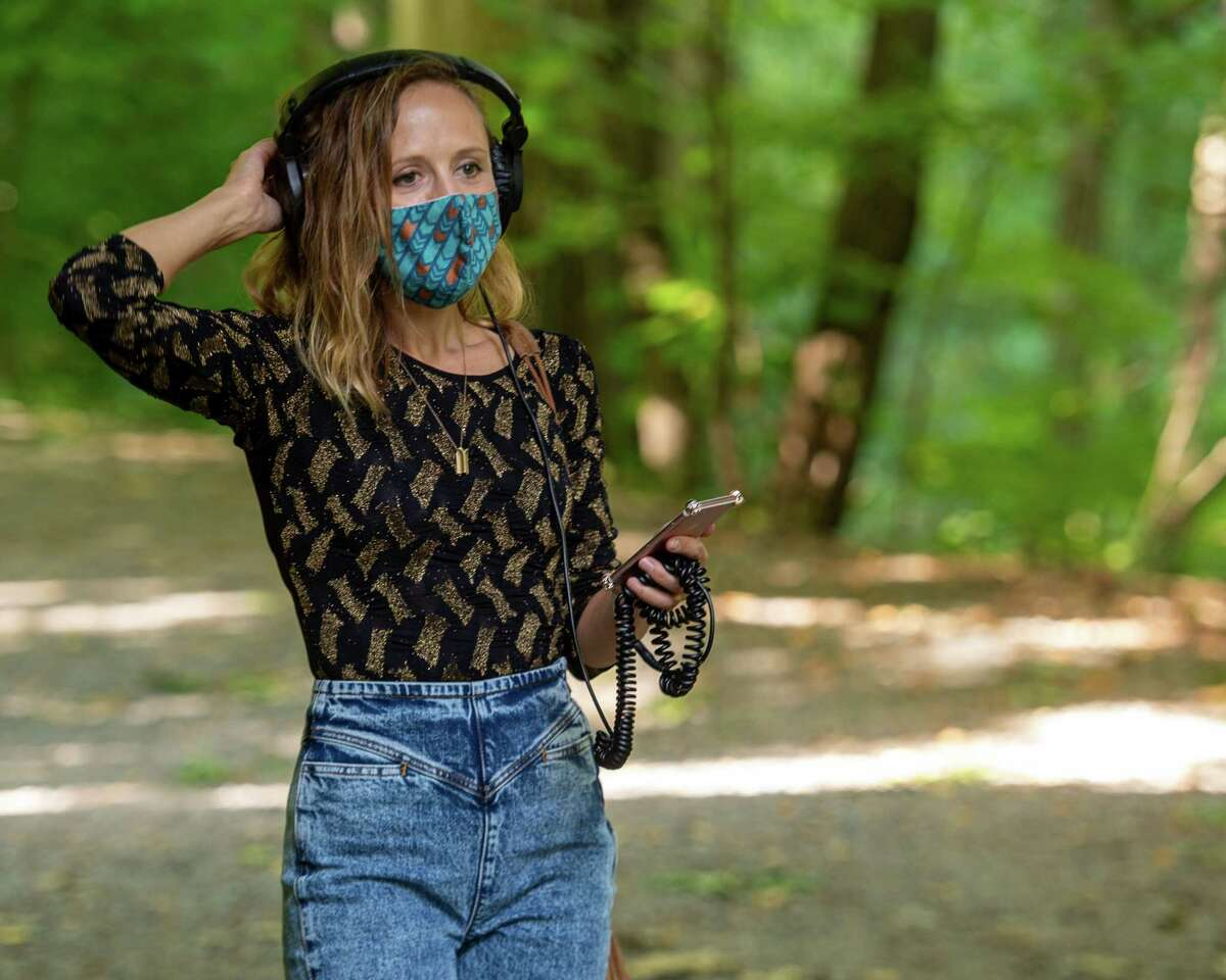 Composer Ellen Reid walk around Saratoga Spa State Park in Saratoga, NY, on Saturday, Sept. 12, 2020, testing a new GPS-enabled app that cues music during self-guided tours at different locations in the park (Jim Franco/special to the Times Union.)