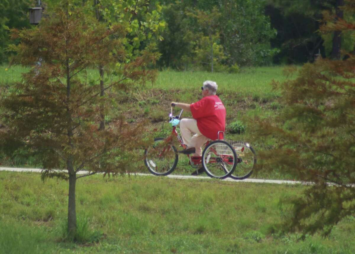 Cyclists frequent the 1.1 mile-long path that was built in the first phase of development at the Exploration Green drainage detention/recreation facility in Clear Lake. A $750,000 state grant will enable development of more nature areas and facilities.