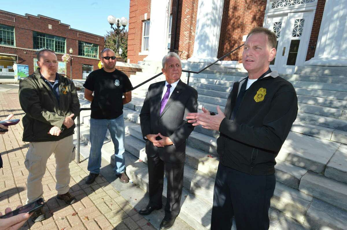 Norwalk Police Union President Lt. Dave O'Connor announces the endorsement by members of the union for mayoral candidate incumbent Harry Rilling during a press conference on Tuesday October 3, 2017 in Norwalk Conn. This week, Norwalk's police union announced they'd be endorsing a slate of Republican candidates for state legislature.