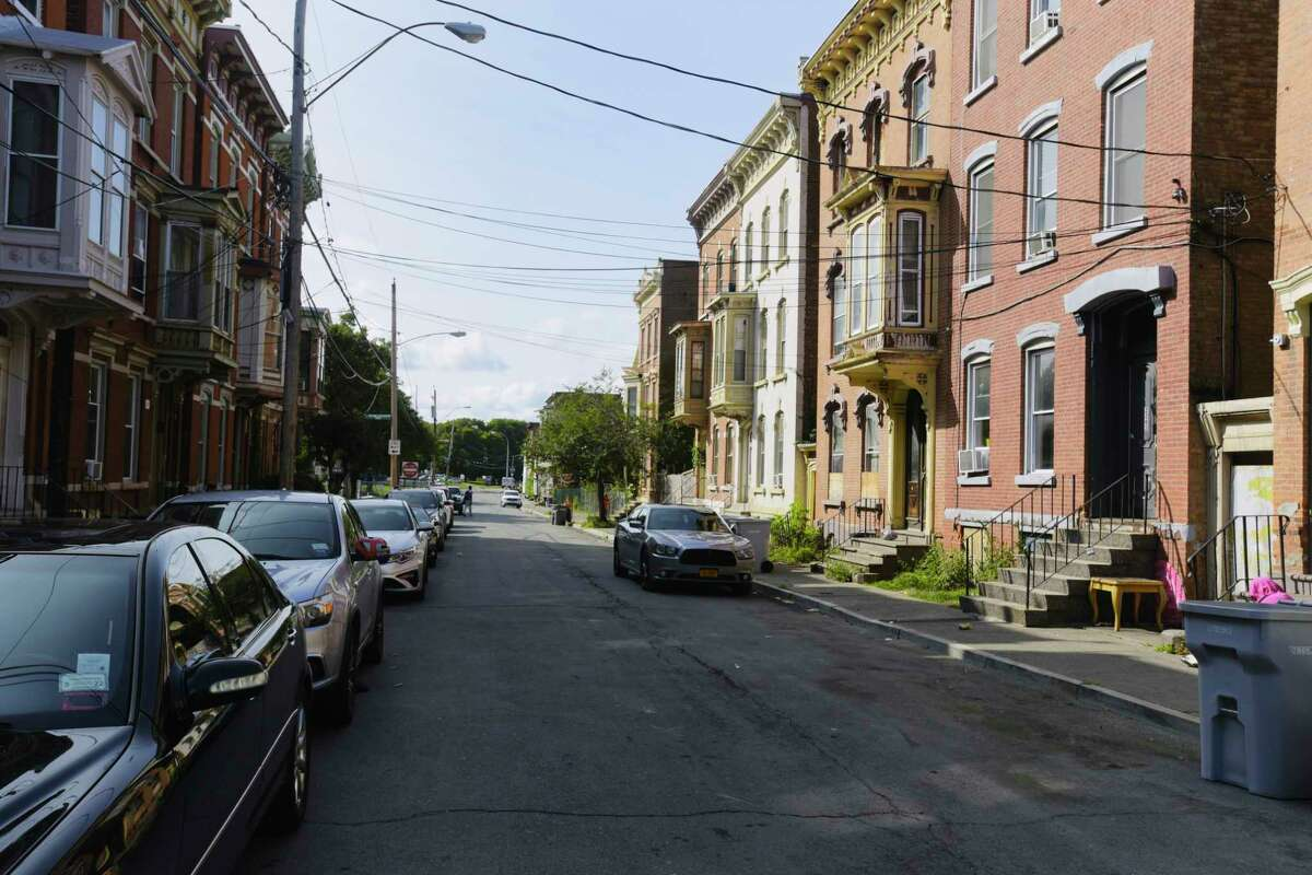 A view of Old 6th Ave., near where a child was shot and killed late Sunday night, seen here on Monday, Sept. 14, 2020, in Troy, N.Y. (Paul Buckowski/Times Union)