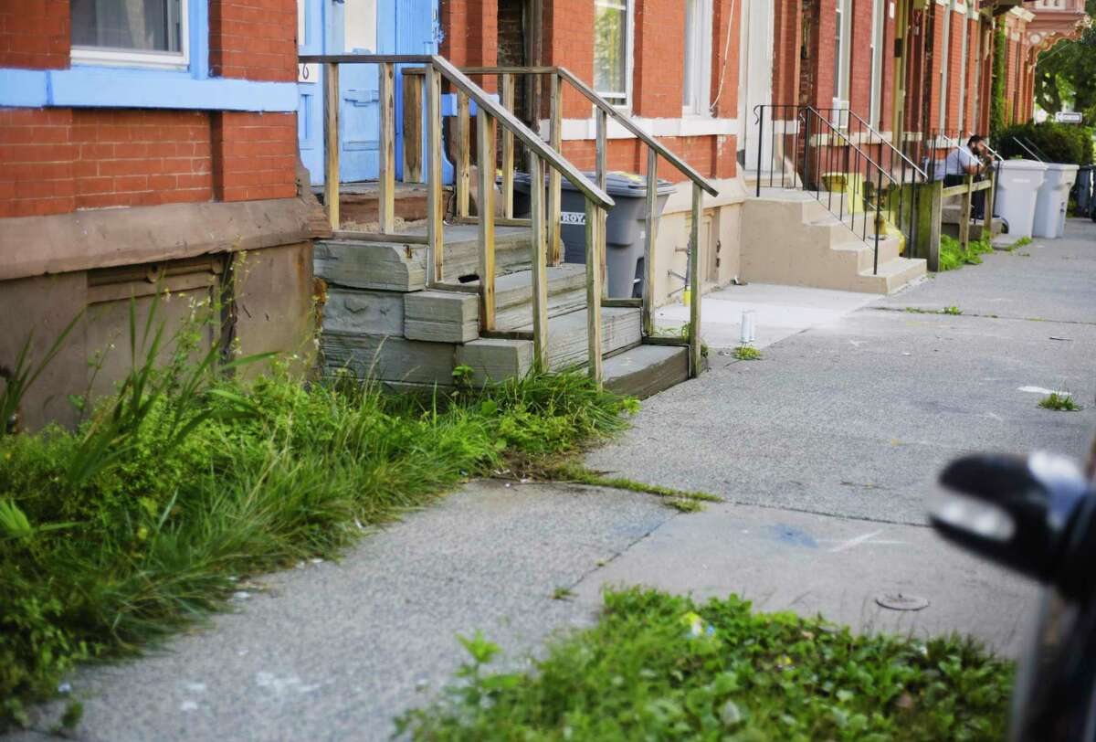 A view of the steps where a child was shot and killed on Old 6th Ave., late Sunday night, seen here on Monday, Sept. 14, 2020, in Troy, N.Y. (Paul Buckowski/Times Union)