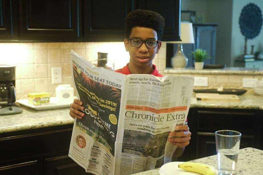 Rodeo Palms Junior High student Marcus Lewis Jr. wrote an essay on the importance of a free press that has been honored in a national contest. Photo: Kirk Sides / Staff Photographer / © 2020 Houston Chronicle/Kirk Sides