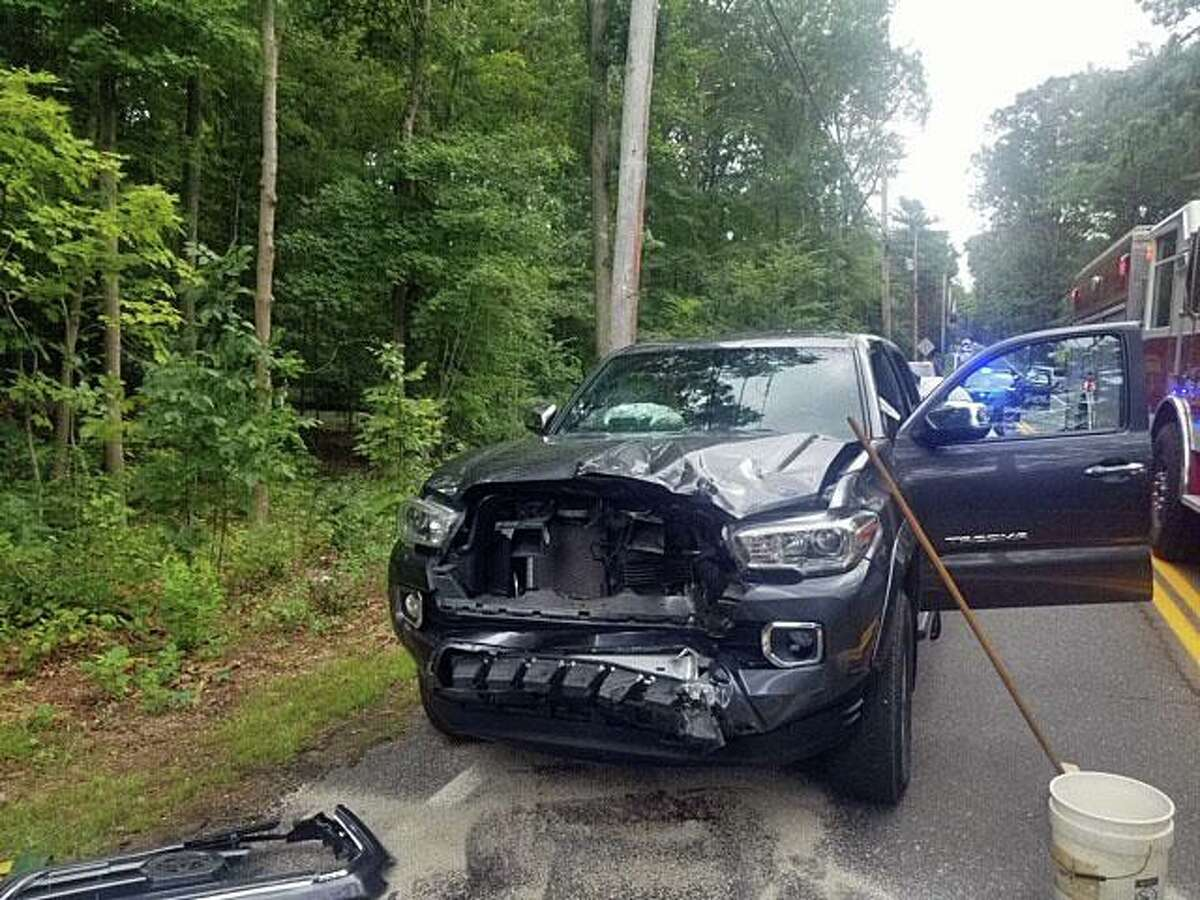 One of the vehicles involved in a head-on collision in Easton, Conn., on Sunday, Sept. 13, 2020.