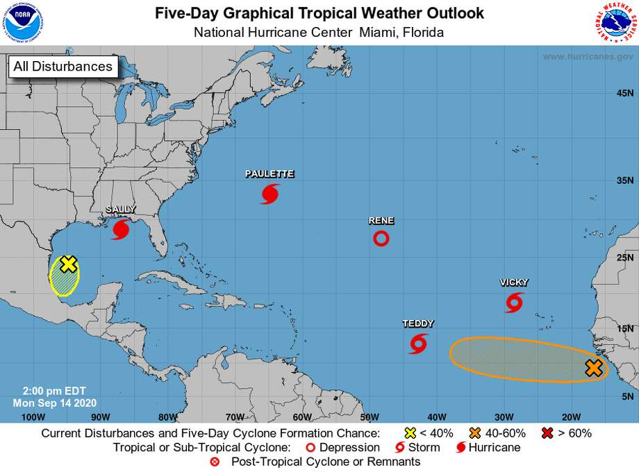 There are five named storms and two disturbances in the Atlantic hurricane forecast zone as of Monday, Sept. 14, 2020. Photo: National Hurricane Center