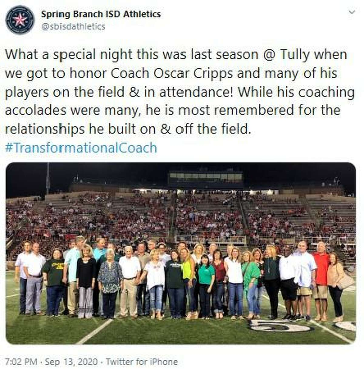 From the Spring Branch ISD Athletics Twitter account