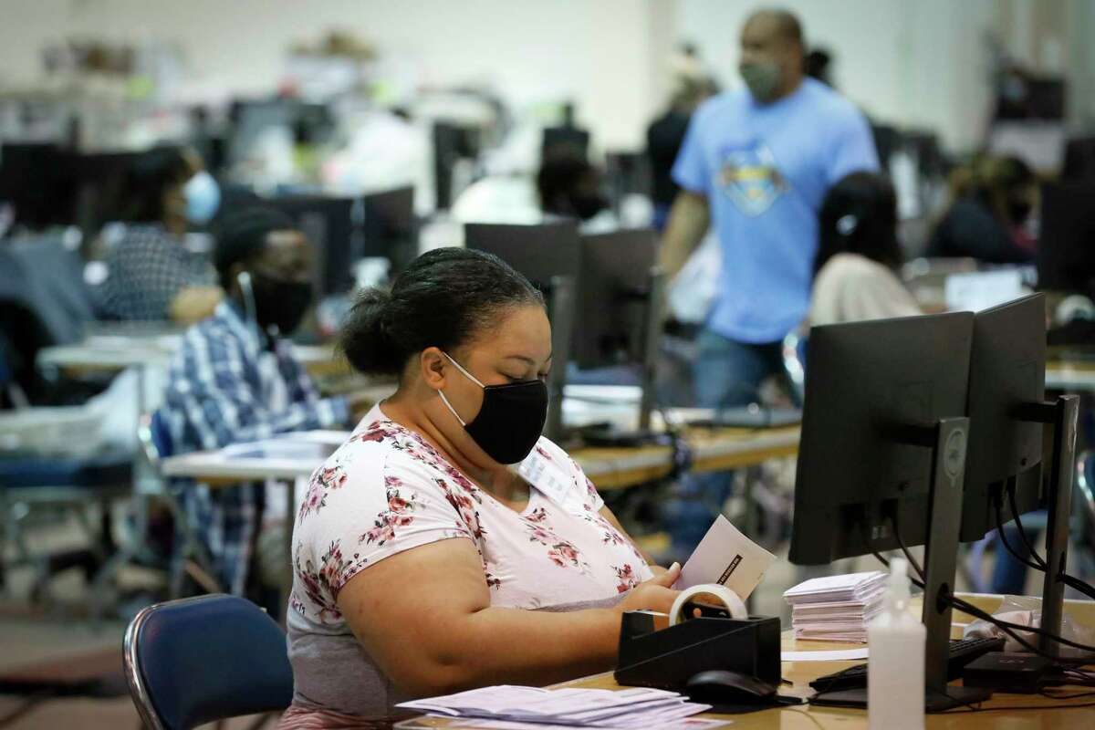 Harris County Clerk election workers at NRG Arena are preparing materials for voting centers that their office must staff for the 2020 election on Monday, Sept. 14, 2020, in Houston.