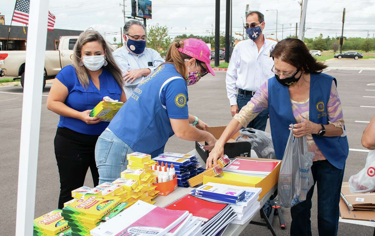 The Laredo Rotary Club organizes school supply donations outside the Texas Workforce Solutions, Wednesday, Sep. 9, 2020, during the Lunch Hour School Supply Drive.