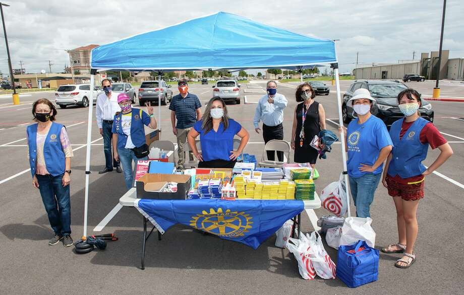 The Laredo Rotary Club organizes school supply donations outside the Texas Workforce Solutions, Wednesday, Sep. 9, 2020, during the Lunch Hour School Supply Drive. Photo: Courtesy Photo
