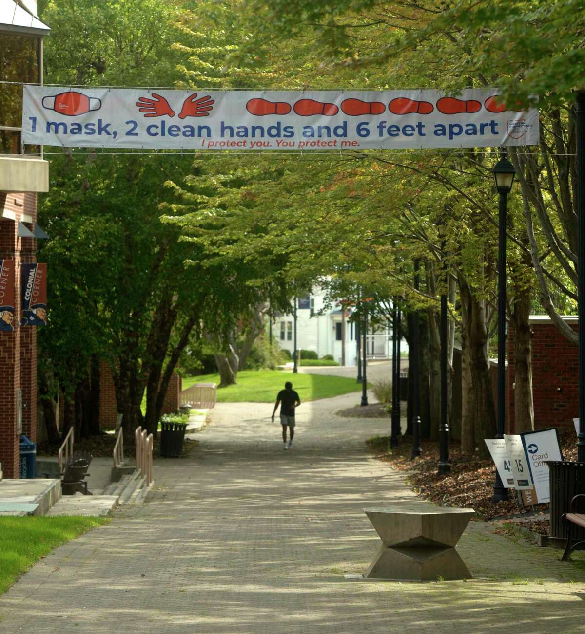 In-person classes started on Monday morning at Western Connecticut State University in Danbury, Conn, with students moving into the dorms over the weekend. September 14, 2020.