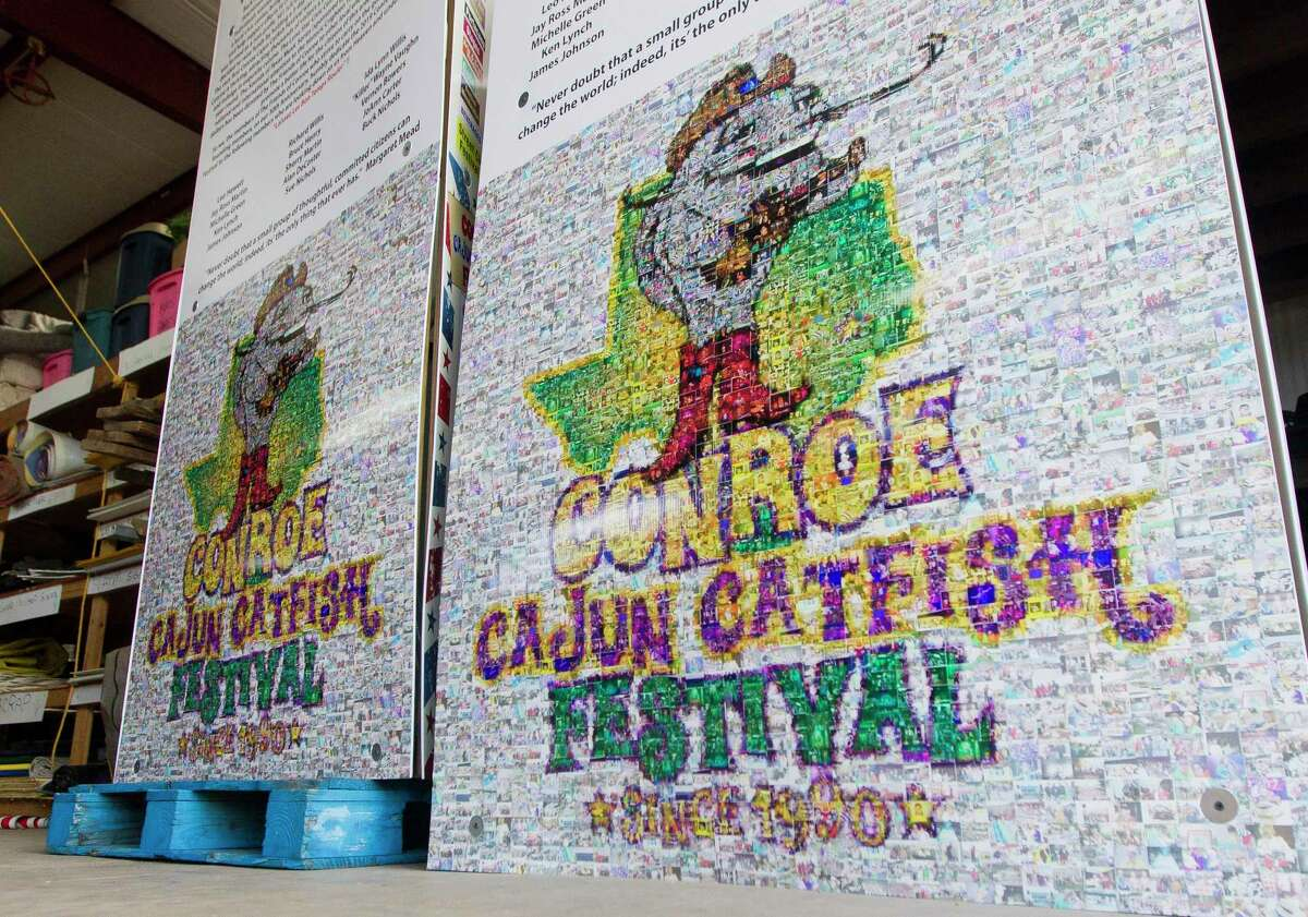 Signs in celebration of the 30th anniversary of Conroe Cajun Catfish Festival are seen, Thursday, Oct. 10, 2019, in Conroe. The downtown Conroe event, is set for Oct. 9, 10 and 11 this year.