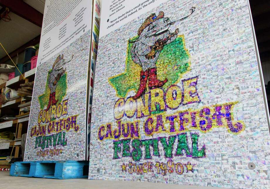 Signs in celebration of the 30th anniversary of Conroe Cajun Catfish Festival are seen, Thursday, Oct. 10, 2019, in Conroe. The downtown Conroe event, is set for Oct. 9, 10 and 11 this year. Photo: Jason Fochtman, Houston Chronicle / Staff Photographer / Houston Chronicle