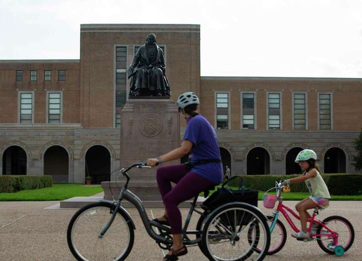 A statue of Rice University founder William Marsh Rice is shown on campus Tuesday, June 23, 2020, in Houston. Rice ranked as the nation's 16th best university in the U.S. News & College Report's university rankings for 2021.