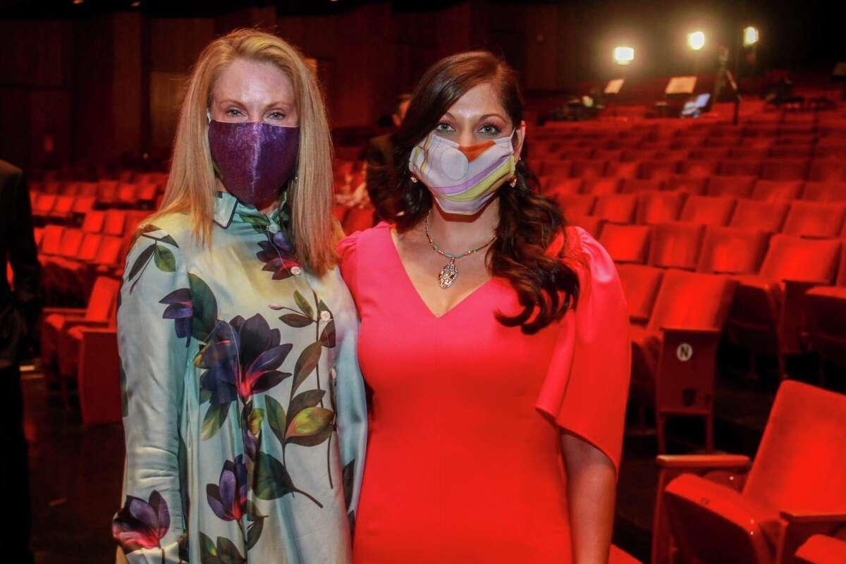 Stephanie Tsuru, left, and Sippi Khurana at Houston Symphony's opening night on September 12, 2020.