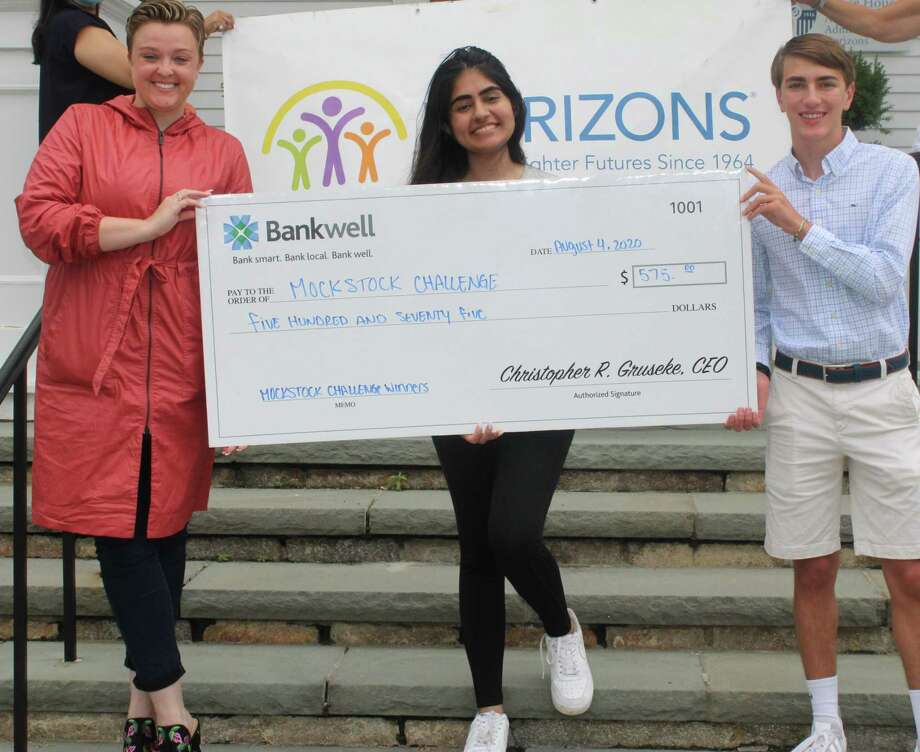 Lucy French, vice president and marketing manager at Bankwell with Stamford resident Riya Punjabi, second place winner of the Mock Stock Challenge, and Henry Benton, NCHS senior and peer instructor, who developed and facilitated the financial literacy program. Photo: Horizons At New Canaan Country School