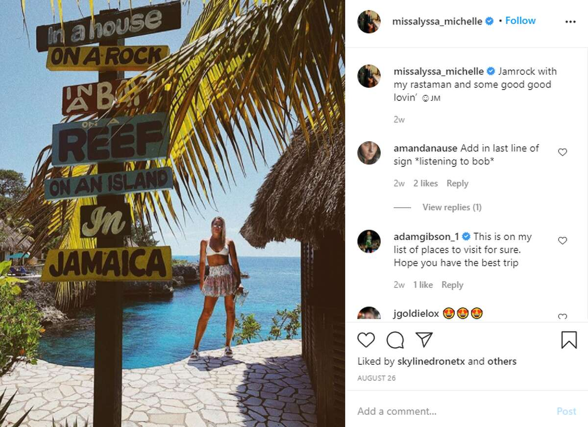 Levesque shared a photo of herself in Jamaica on Aug. 26. and incorporated Bob Marley's lyrics into her caption.