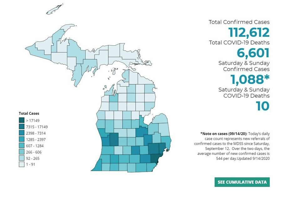 This graphic shows the total number of confirmed cases of COVID-19 in Michigan increased by 1,000 over the weekend. (Screenshot michigan.gov)