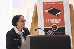 Greenwich Library Director Barbara Ormerod-Glynn seen last year about the choice of Farenheit 451 for Greenwich Reads Together. On Monday the Library announced the 2020 selections are Mountains Beyond Mountains by Pulitzer Prize winner Tracy Kidder and Just Mercy by Bryan Stevenson.