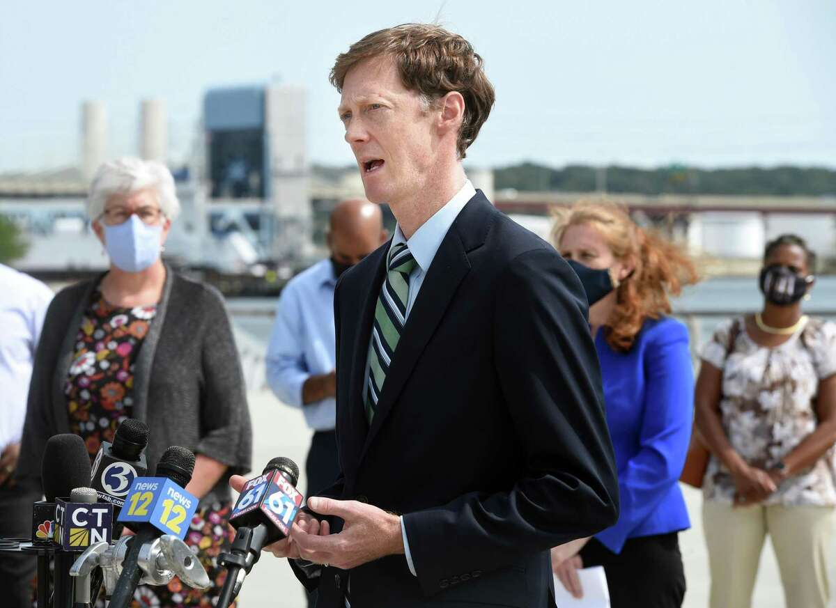 New Haven Mayor Justin Elicker speaks outside of the Canal Dock Boathouse in New Haven on Sept. 14, 2020.