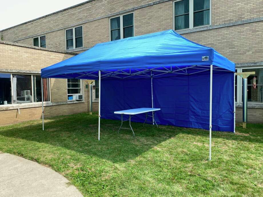 The Manistee County Medical Care Facility set up a tented area that will serve as the location of future in person meetings between residents and their visitors. (Joe Coleman/Courtesy photo)