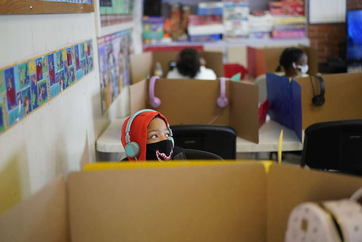 Shurmar Noriega, 10 attends a SF hub for kids for academic support and supervision - -a substitute for school at this point by a company called Youth 1st. on Monday, Sept. 14, 2020 in San Francisco, Calif.