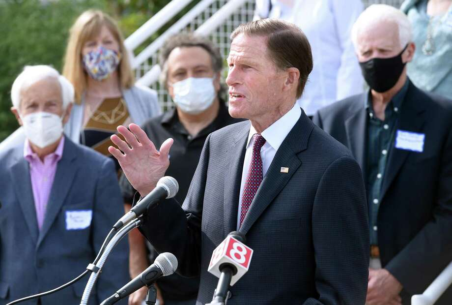 U.S. Sen. Richard Blumenthal speaks about the Save Our Stages Act to assist financially strapped entertainment venues in Connecticut outside Long Wharf Theatre in New Haven on Sept. 14, 2020. Photo: Arnold Gold / Hearst Connecticut Media / New Haven Register