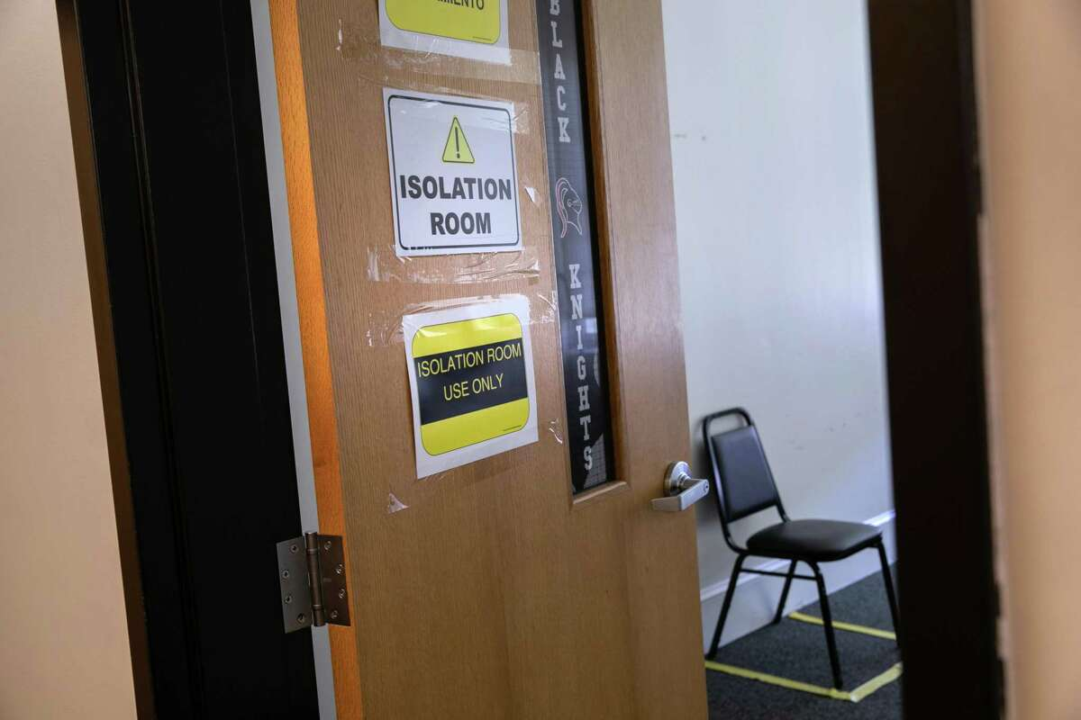 """An improvised """"isolation room"""" stands at the ready for students with potential COVID-19 symptoms on the first day of school at Stamford High School on September 08, 2020 in Stamford, Connecticut."""