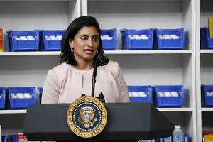 In this July 24, 2020, file photo Administrator of the Centers for Medicare and Medicaid Services Seema Verma speaks during an event with President Donald Trump to sign executive orders on lowering drug prices, in the South Court Auditorium in the White House complex in Washington. (AP Photo/Alex Brandon, File)