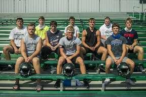 Freeland's seniors. First row, from left: Cole Wiese, Easton Armstrong, Nolan Van Loo. Second row, from left: Camden Cichowski, Trent Meyer, Blake Watson, Ben Wellnitz. Third row, from left: Samuel Kostrzewa, Carter Suppes, Gavin Zizios.