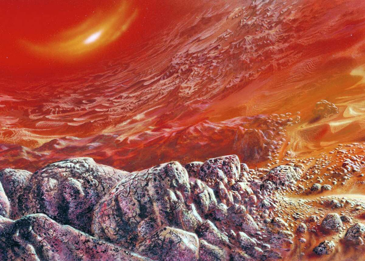 An image provided by NASA shows an artist's conception of the surface of Venus. Hot enough to melt metal and with clouds full of acid, any life that could survive in the atmosphere of Venus would have to be capable of enduring extremes. (Rick Guidice/NASA via The New York Times)