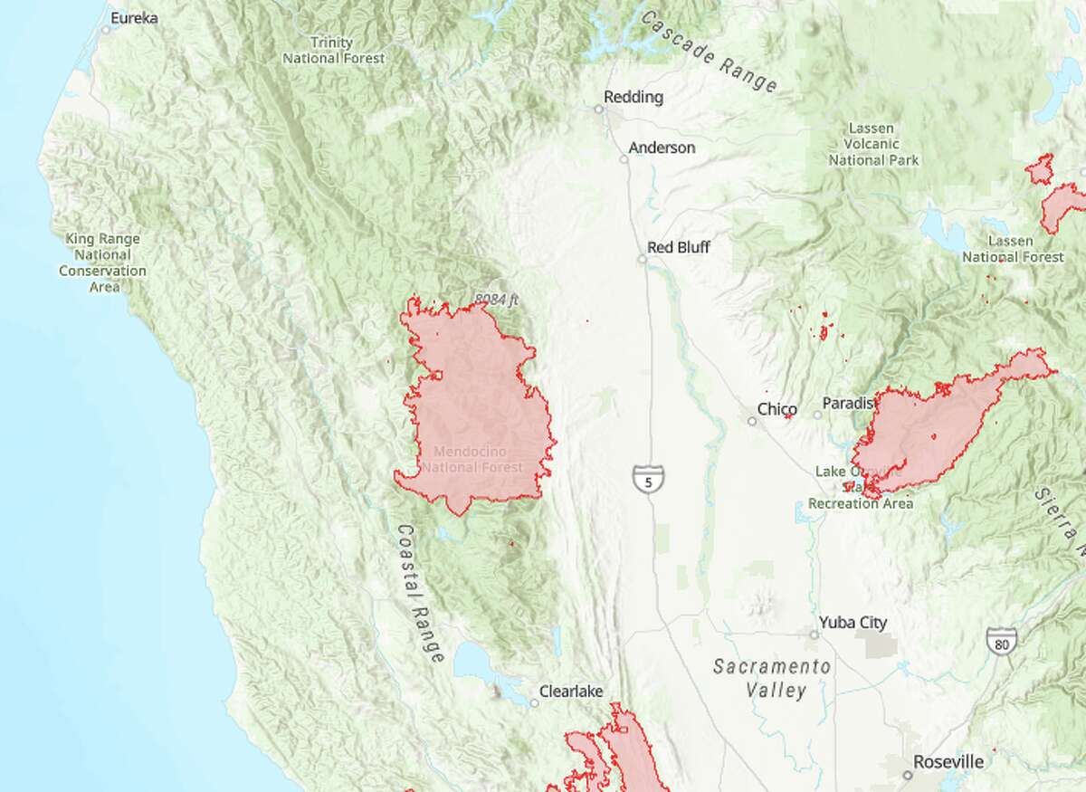 The August Complex Fire (center), now the largest wildfire ever recorded in California, extends 100 miles north to south. It is now threatening the Emerald Triangle pot-growing region, the center of the state's cannabis industry.