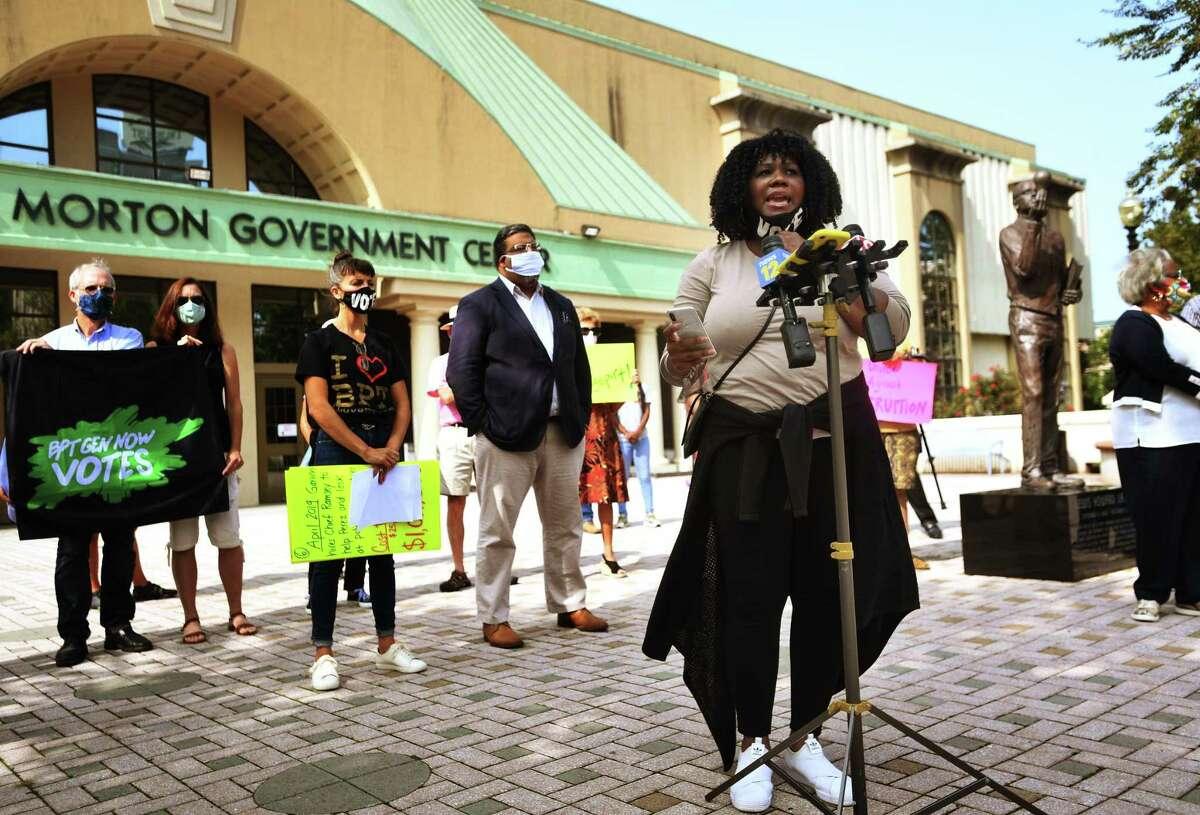 Gemeem Davis, co-director of Bridgeport Generation Now, calls for the resignation of Mayor Joe Ganim during a protest outside the Margaret E. Morton Government Center in Bridgeport on Monday.