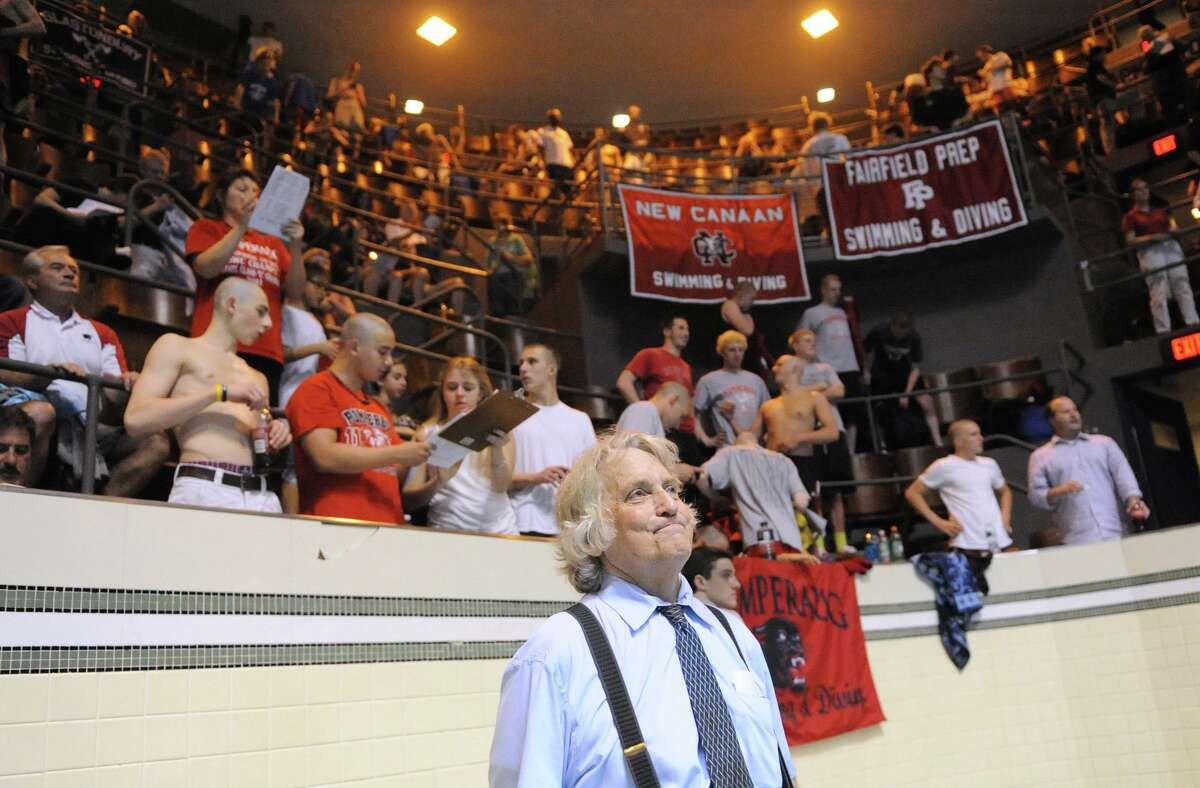 Bruce Jaffe, Fairfield Prep swim coach, after his team won the Boys CIAC State Open Swimming championships at Yale University in New Haven, Conn., Saturday, March 17, 2012.