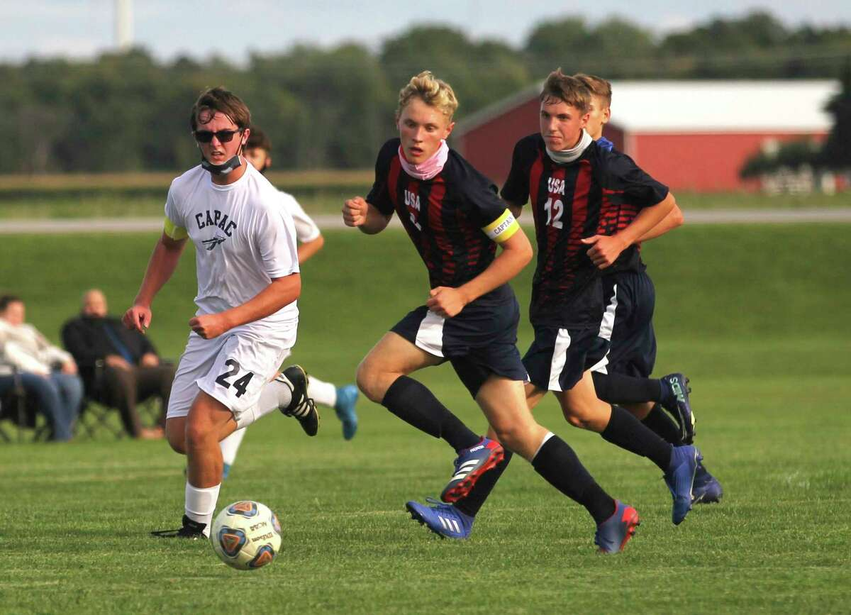 The Unionville-Sebewaing Area boys soccer team battled the visiting Capac Chiefs to a 0-0 tie on Monday afternoon. The Patriots (2-0-1) head to Memphis on Wednesday to take on the Yellowjackets. (Mark Birdsall/Huron Daily Tribune)