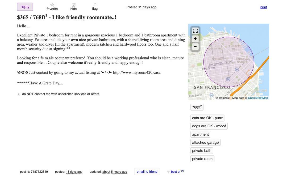 A typical example of a fake Craigslist apartment ad.