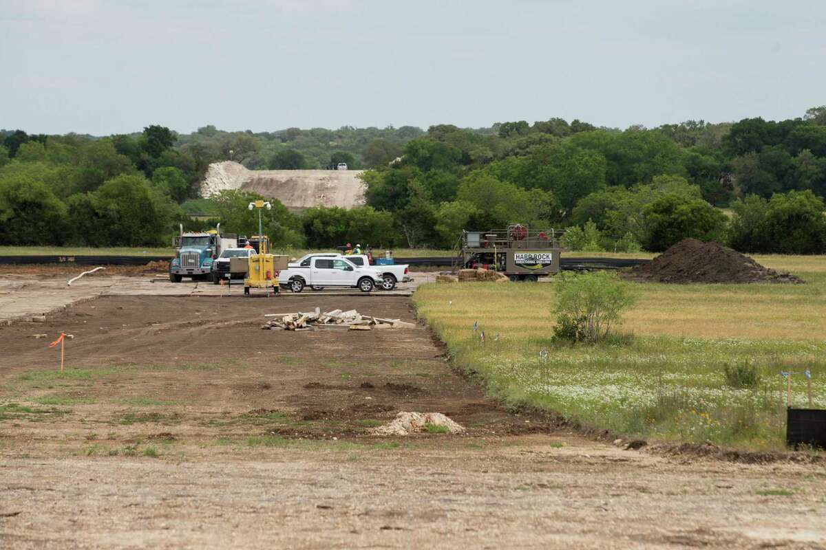A construction site along the route of the Kinder Morgan natural gas pipeline boring operation in Blanco, Texas.