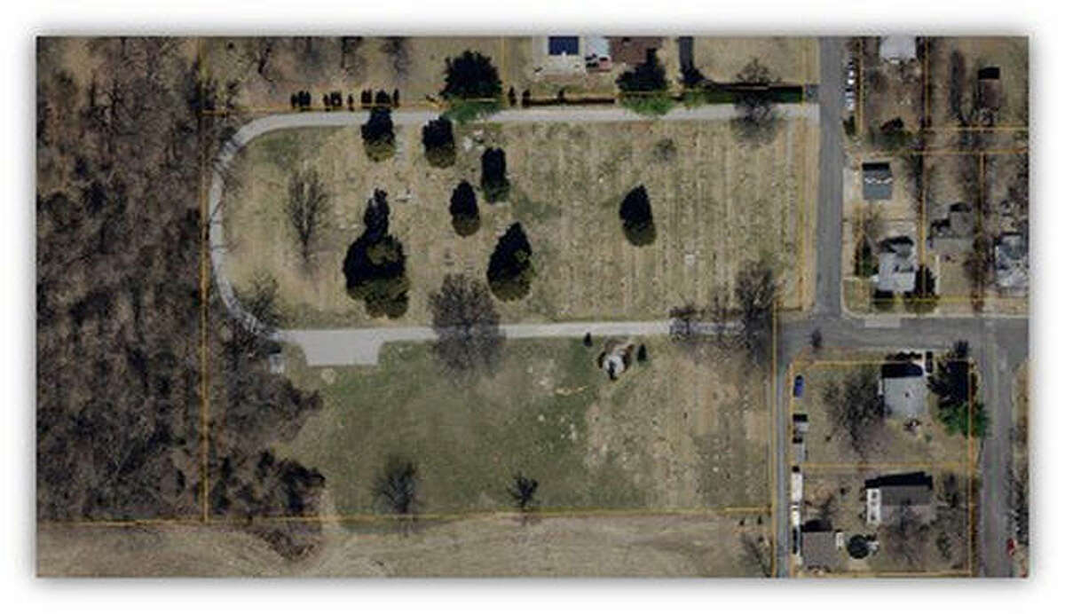 An aerial shot of the cemetery.