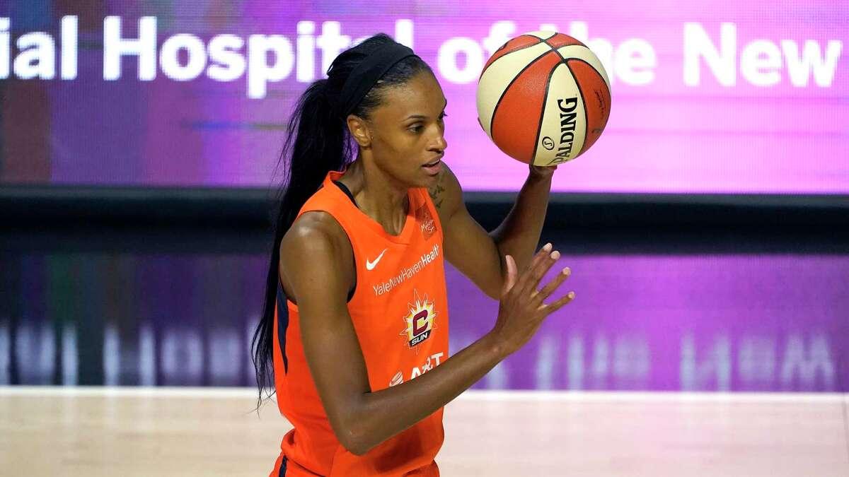 Connecticut Sun forward DeWanna Bonner (24) during the second half of a WNBA basketball game against the New York Liberty Tuesday, Sept. 1, 2020, in Bradenton, Fla. (AP Photo/Chris O'Meara)