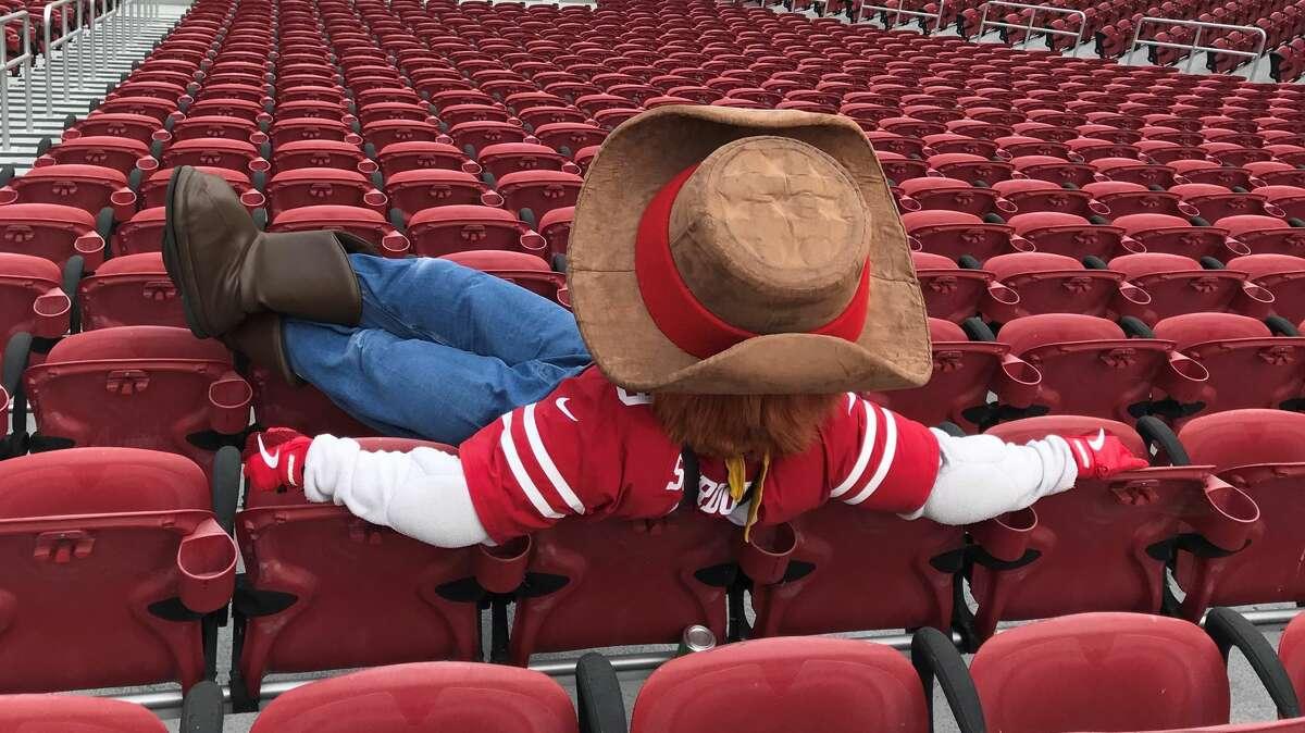 A photo of 49ers mascot Sourdough Sam at Levi's Stadium in Sept. 2020.