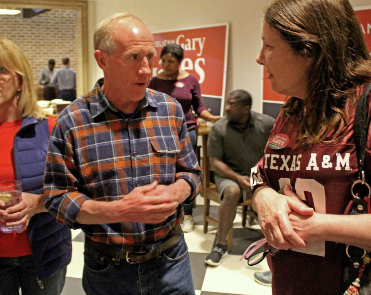 Gary Gates talks with supporters election night at his watch party in Richmond. Gates won the District 28 state representative seat. He received 17,457 votes to 12,617 for his Democratic opponent Eliz Markowitz.