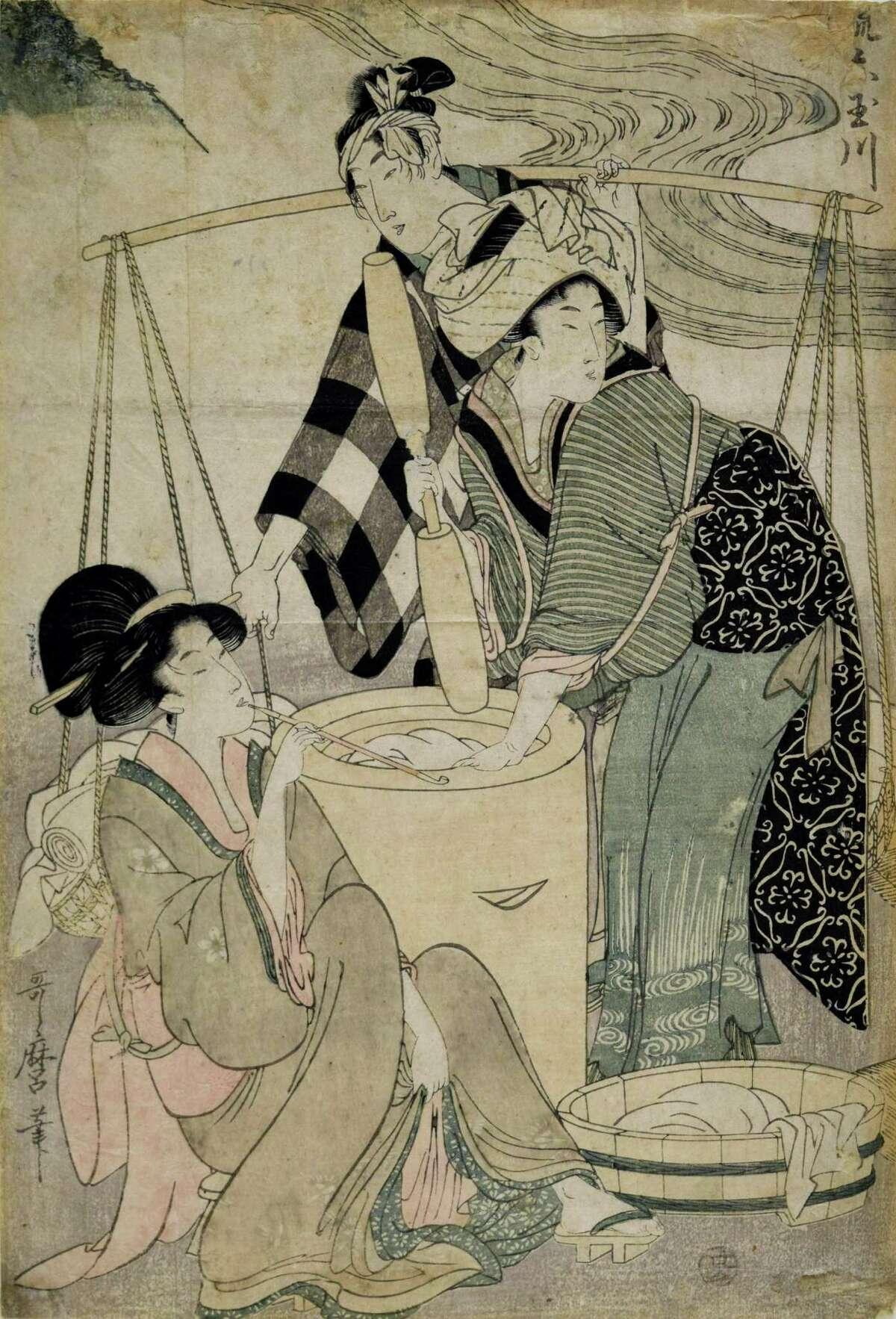 "Kitagawa Utamaro (Japanese, 1753-1806) Mutamagawa, will be included in the Bruce Museum's ""Floating Beauty"" exhibit."