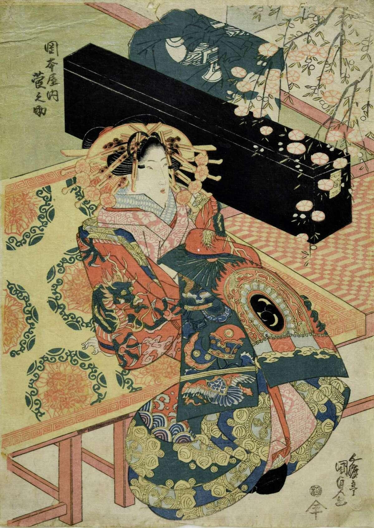Utagawa Kunisada (Toyokuni III), (Japanese, 1786-1865), Uryûno of the Okamotoya will be on display at the Bruce Museum through Nov. 1.
