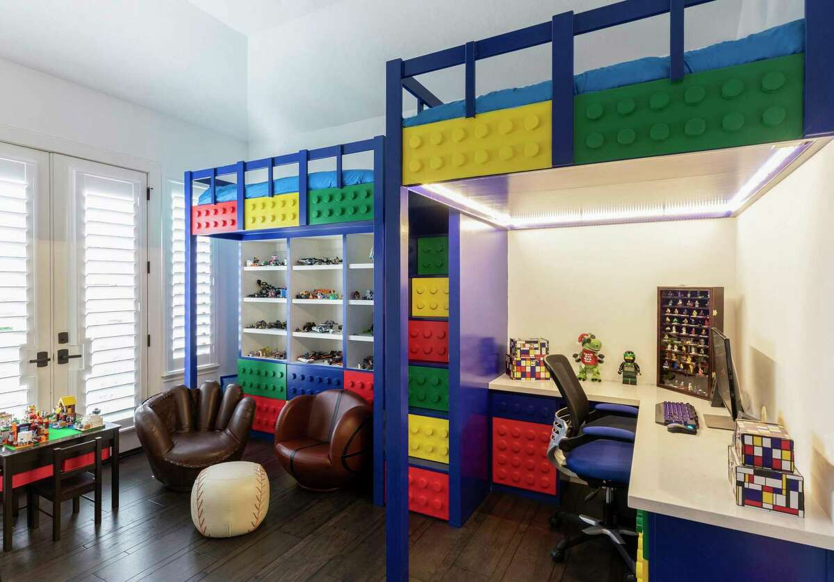 What 9-year-old boy wouldn't want a bedroom devoted to his favorite toys - Legos? Ethan Morgan's bedroom was designed loft-style, with under-bed room used for a desk and shelving to show off his favorite Lego creations?