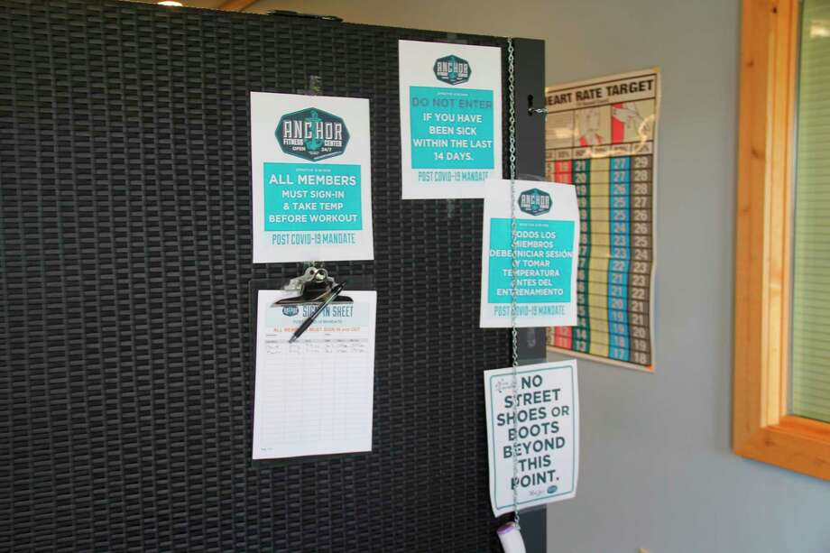 The sign-in sheets for Anchor Fitness in Port Austin (Robert Creenan/Huron Daily Tribune)