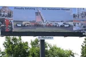 A billboard installed in Danbury on the eastbound side of I-84 near the New York state line thanks local police, fire and health care workers, as well as National Guard members for their efforts during the coronavirus pandemic.
